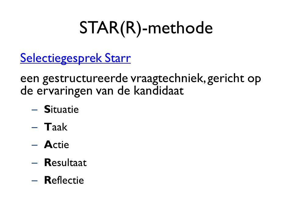 STAR(R)-methode Selectiegesprek Starr