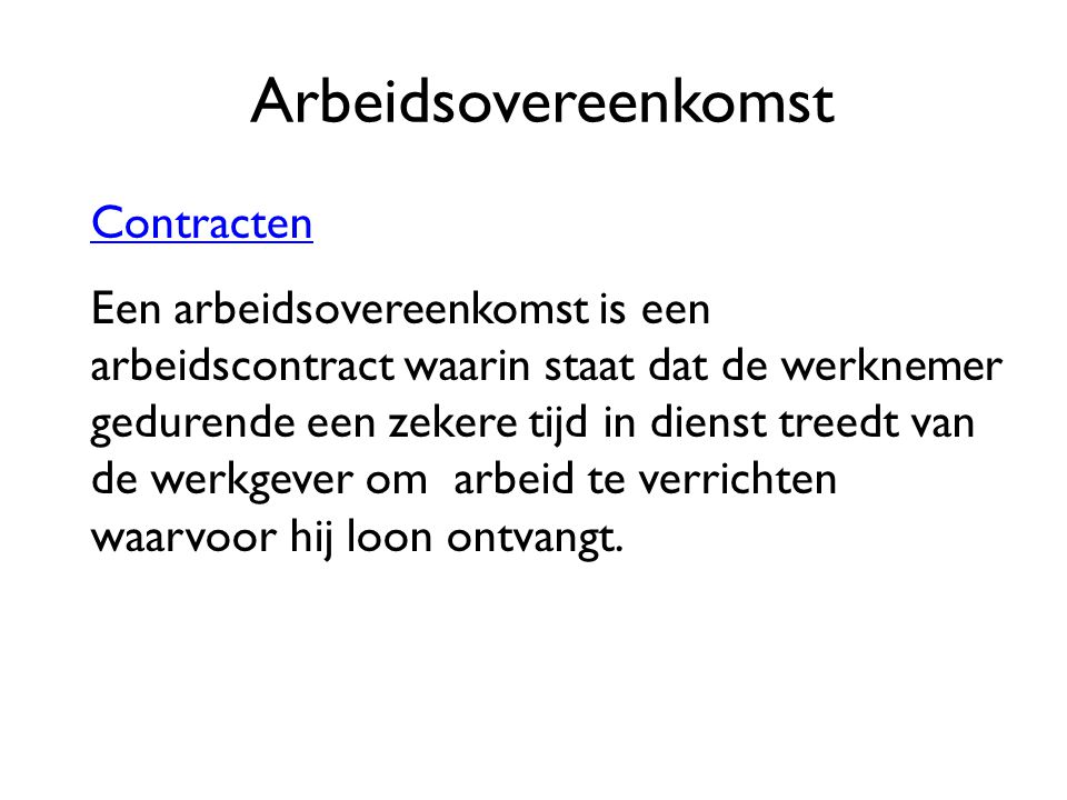 Arbeidsovereenkomst Contracten