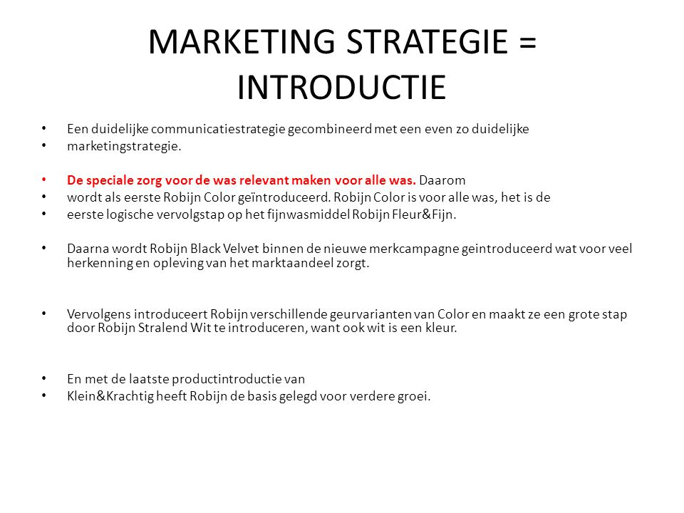 MARKETING STRATEGIE = INTRODUCTIE