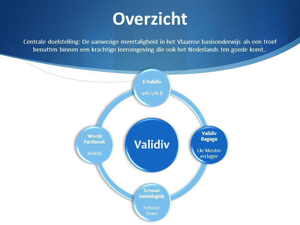 Overzicht Centrale doelstelling: De aanwezige meertaligheid in het Vlaamse basisonderwijs als een troef benutten binnen een krachtige leeromgeving die ook het Nederlands ten goede komt..
