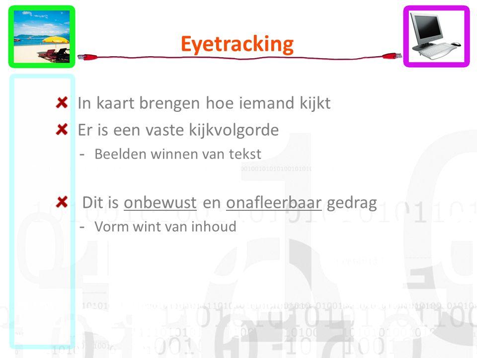 Eyetracking In kaart brengen hoe iemand kijkt