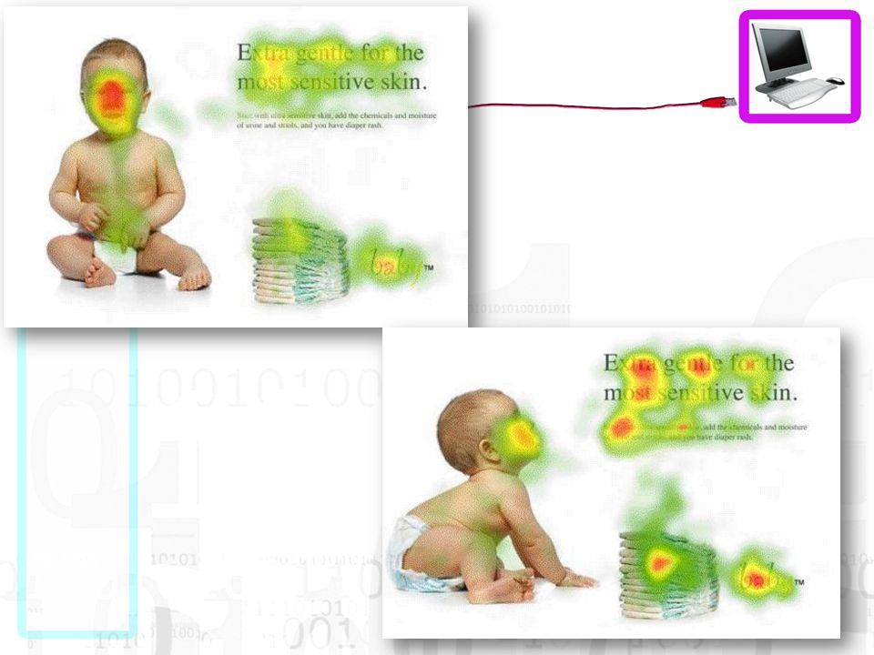 De baby kijkt in de tweede versie naar de header en zie daar het effect.