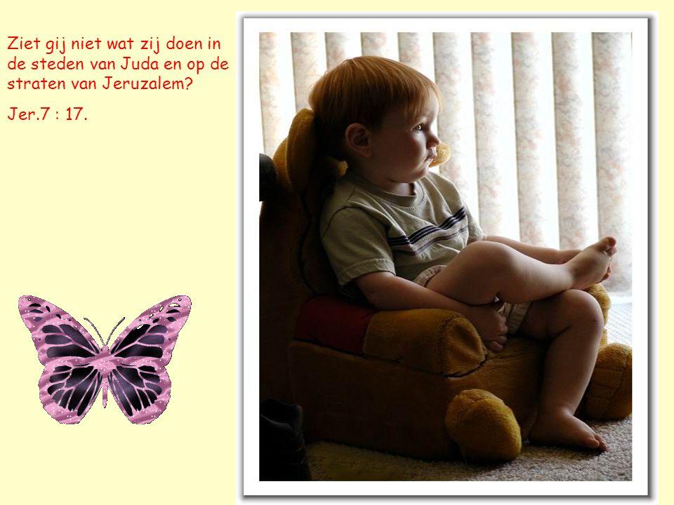 Ziet gij niet wat zij doen in de steden van Juda en op de straten van Jeruzalem