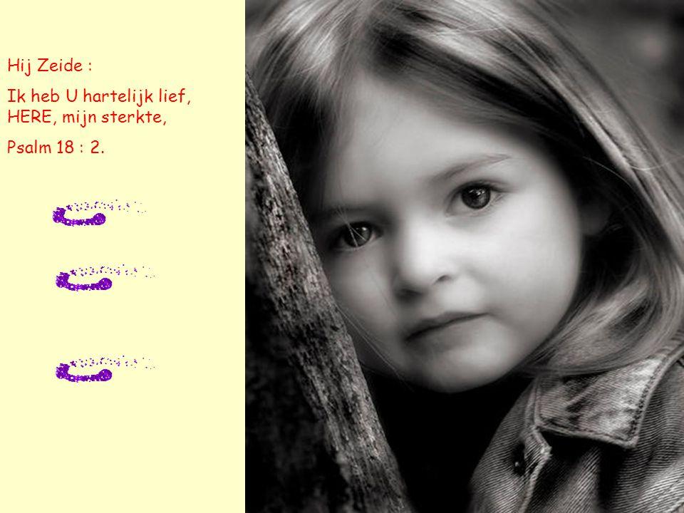 Hij Zeide : Ik heb U hartelijk lief, HERE, mijn sterkte, Psalm 18 : 2.