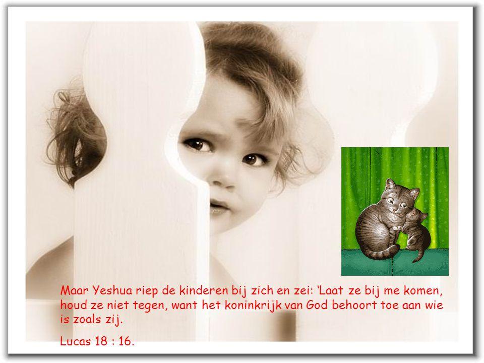 Maar Yeshua riep de kinderen bij zich en zei: 'Laat ze bij me komen, houd ze niet tegen, want het koninkrijk van God behoort toe aan wie is zoals zij.