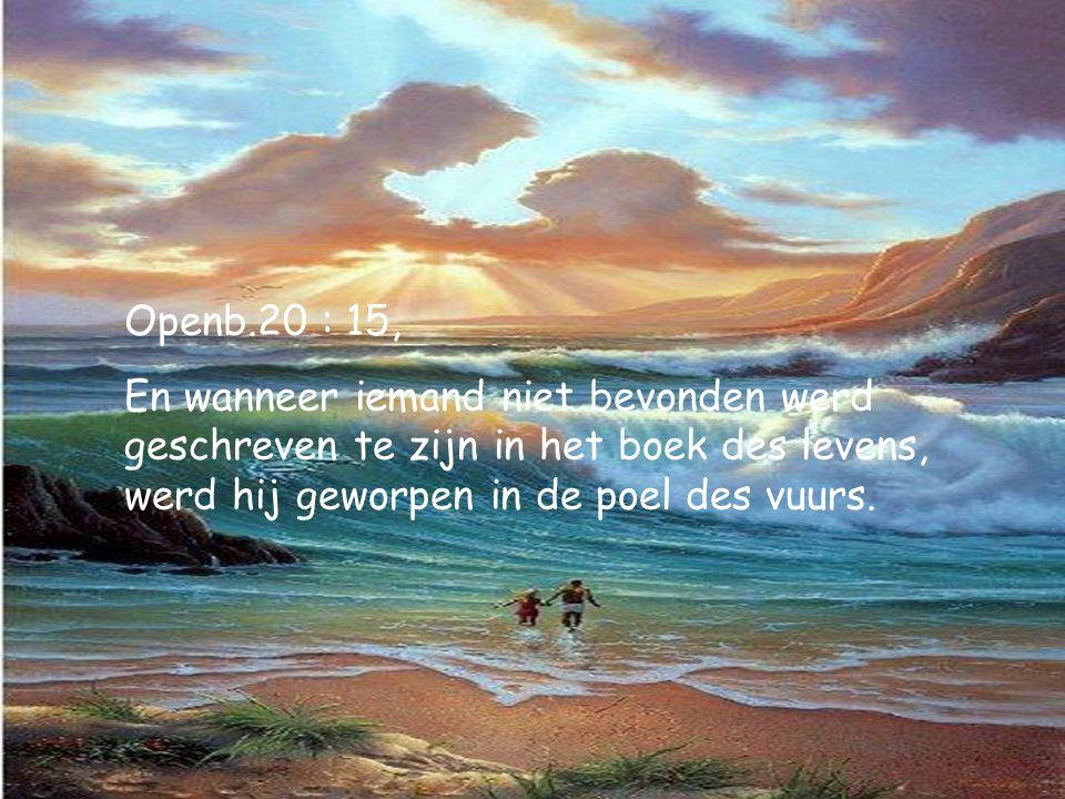 Openb.20 : 15, En wanneer iemand niet bevonden werd geschreven te zijn in het boek des levens, werd hij geworpen in de poel des vuurs.