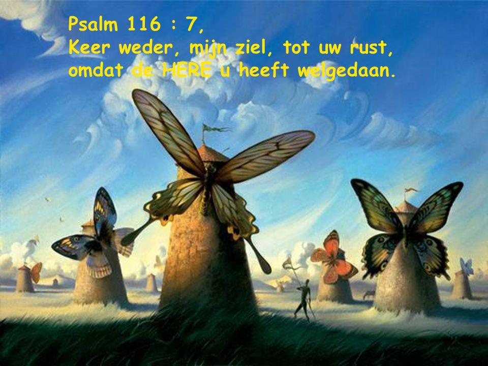 Psalm 116 : 7, Keer weder, mijn ziel, tot uw rust, omdat de HERE u heeft welgedaan.