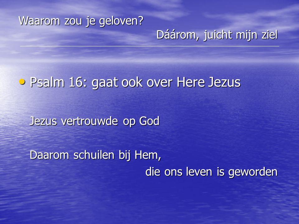 Psalm 16: gaat ook over Here Jezus Jezus vertrouwde op God