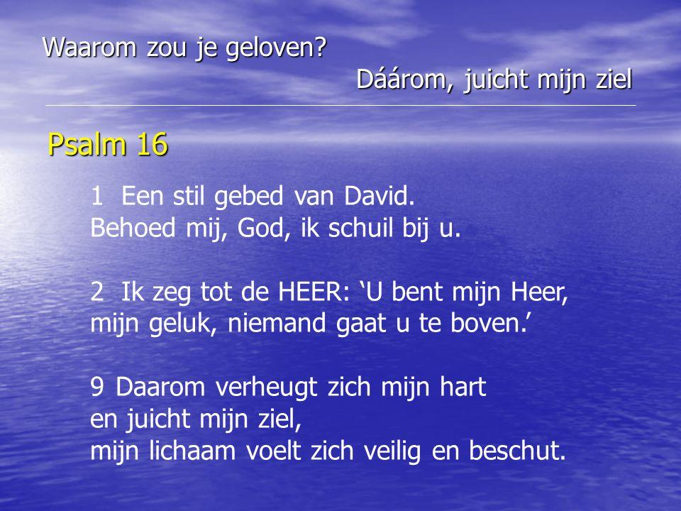 Psalm 16 Waarom zou je geloven Dáárom, juicht mijn ziel