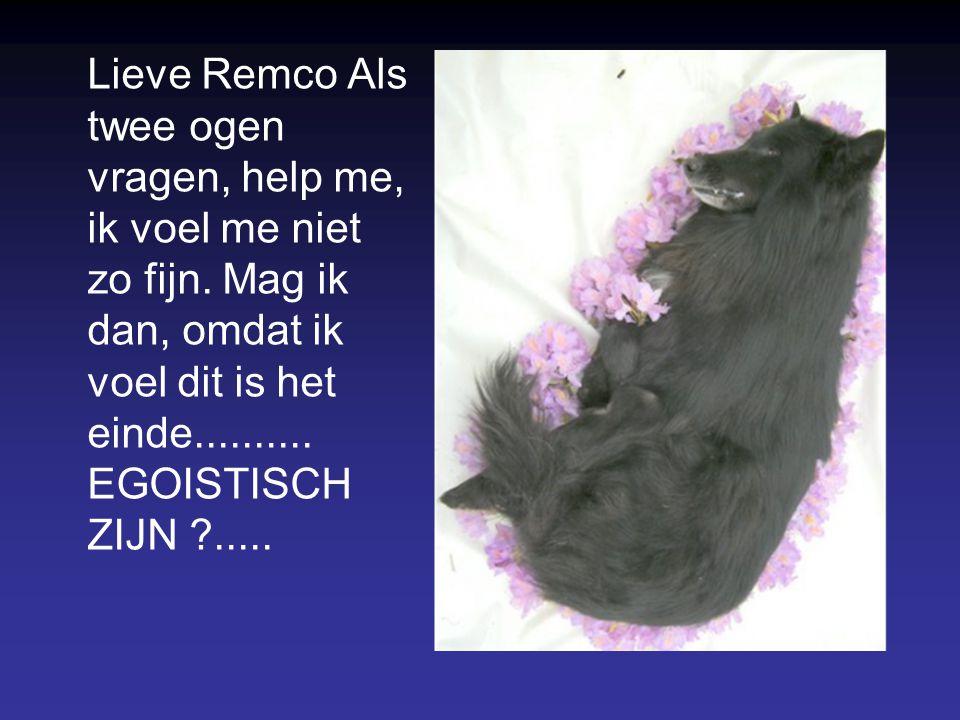 Lieve Remco Als twee ogen vragen, help me, ik voel me niet zo fijn