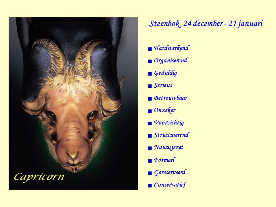 Steenbok 24 december - 21 januari