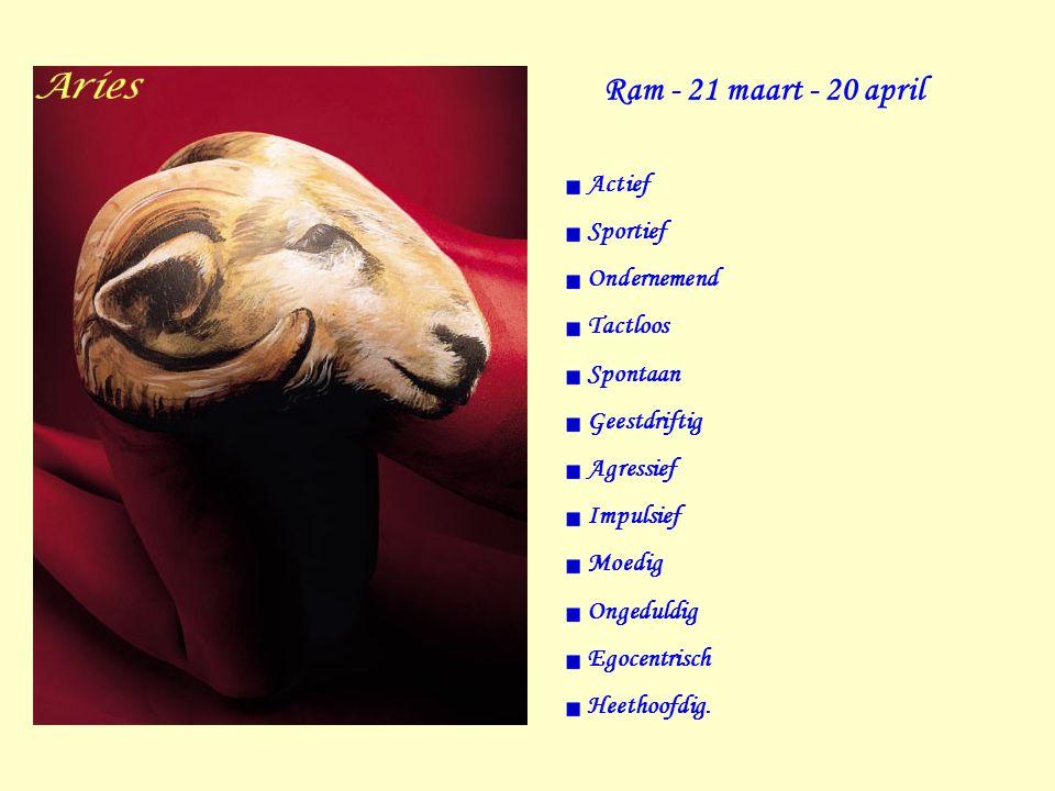 Ram - 21 maart - 20 april Actief Sportief Ondernemend Tactloos