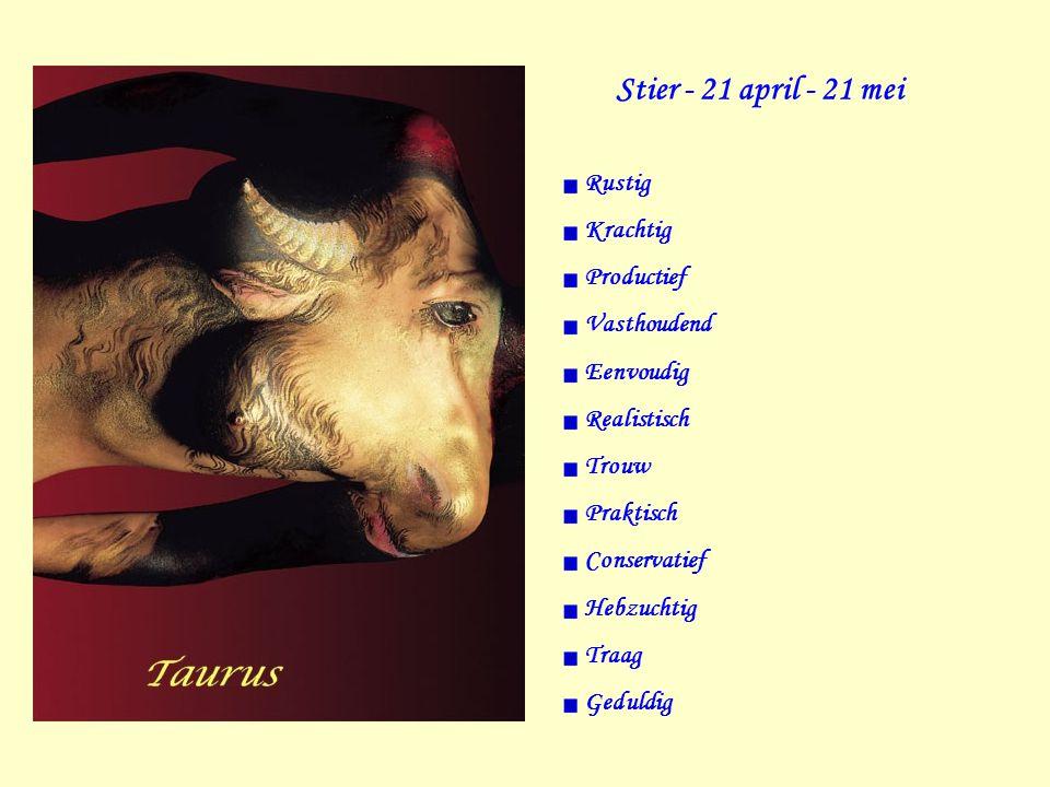 Stier - 21 april - 21 mei Rustig Krachtig Productief Vasthoudend