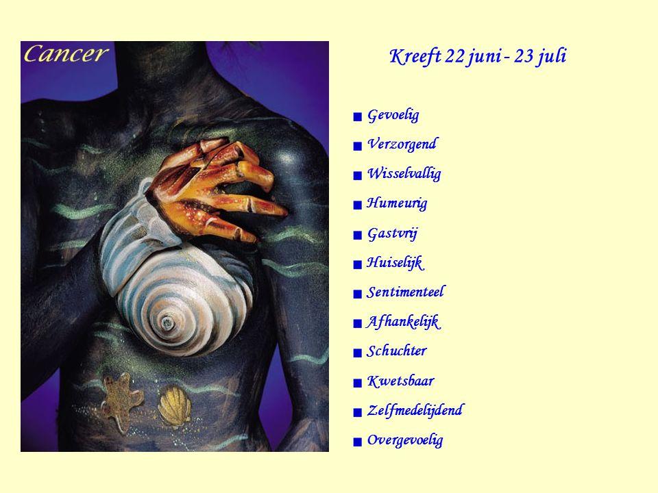 Kreeft 22 juni - 23 juli Gevoelig Verzorgend Wisselvallig Humeurig