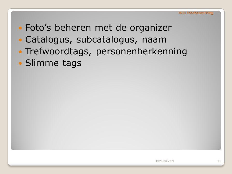 Foto's beheren met de organizer Catalogus, subcatalogus, naam