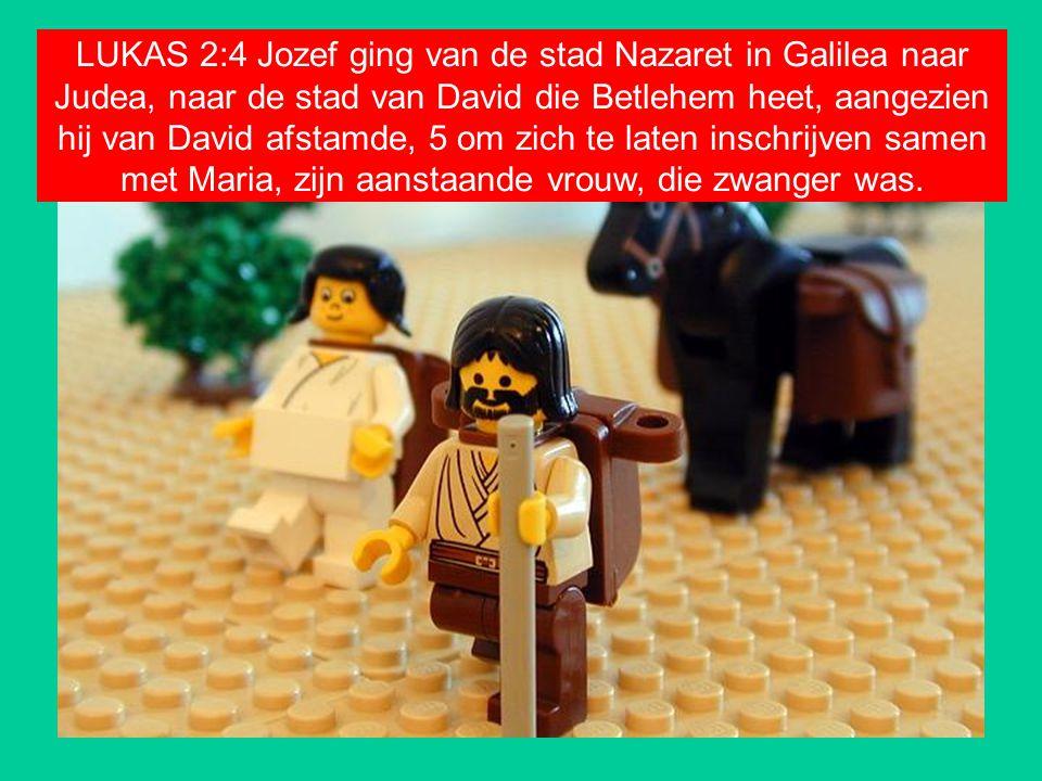 LUKAS 2:4 Jozef ging van de stad Nazaret in Galilea naar Judea, naar de stad van David die Betlehem heet, aangezien hij van David afstamde, 5 om zich te laten inschrijven samen met Maria, zijn aanstaande vrouw, die zwanger was.