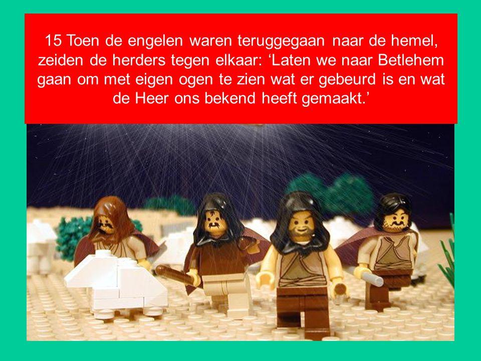 15 Toen de engelen waren teruggegaan naar de hemel, zeiden de herders tegen elkaar: 'Laten we naar Betlehem gaan om met eigen ogen te zien wat er gebeurd is en wat de Heer ons bekend heeft gemaakt.'