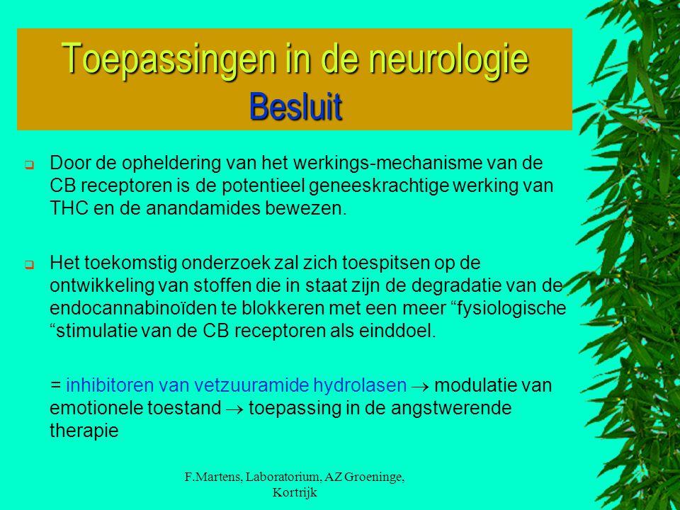 Toepassingen in de neurologie Besluit
