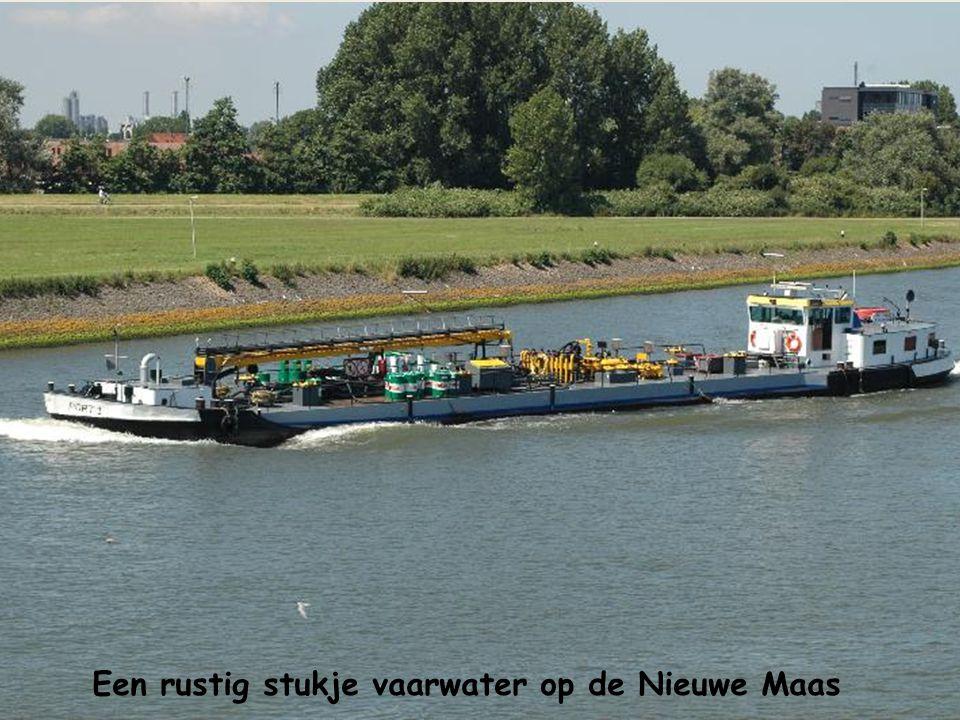 Een rustig stukje vaarwater op de Nieuwe Maas