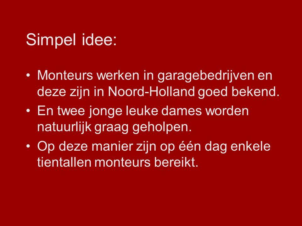 Simpel idee: Monteurs werken in garagebedrijven en deze zijn in Noord-Holland goed bekend.