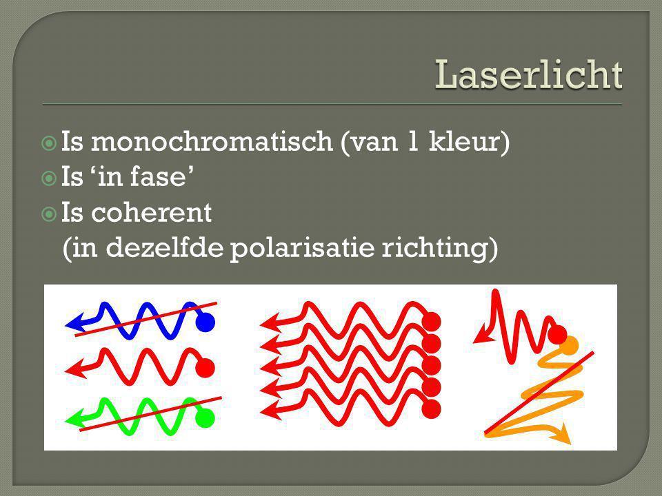 Laserlicht Is monochromatisch (van 1 kleur) Is 'in fase'