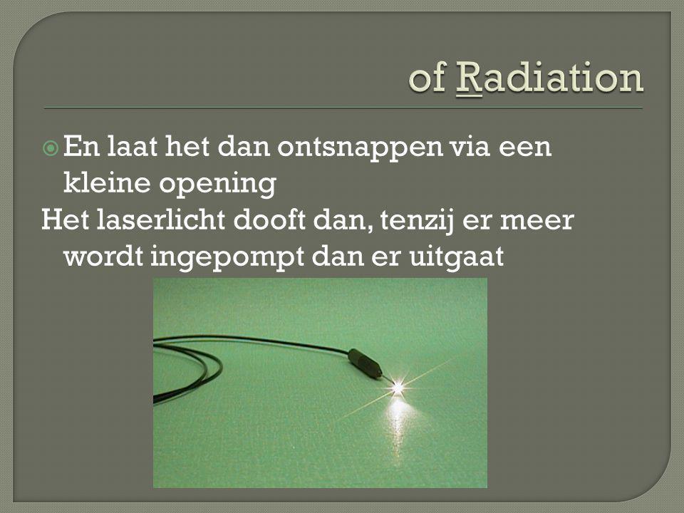 of Radiation En laat het dan ontsnappen via een kleine opening