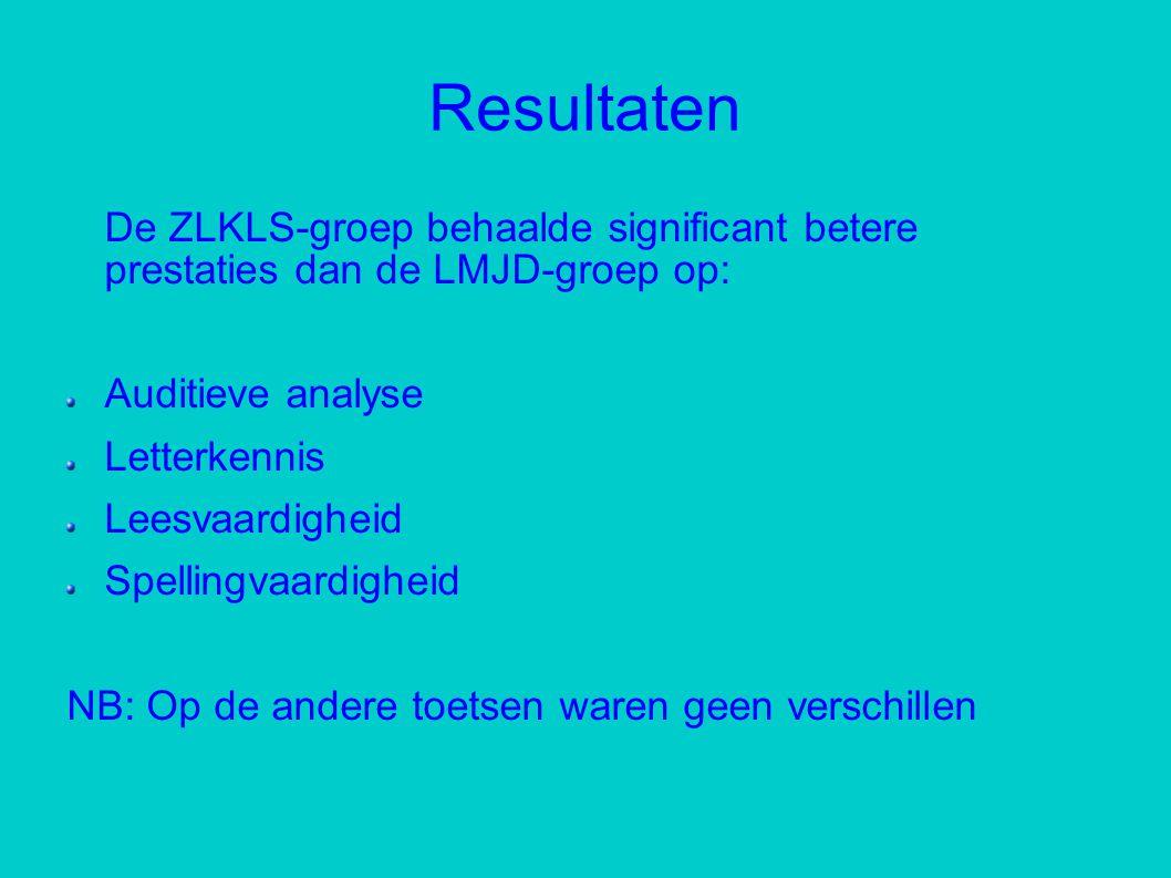 Resultaten De ZLKLS-groep behaalde significant betere prestaties dan de LMJD-groep op: Auditieve analyse.