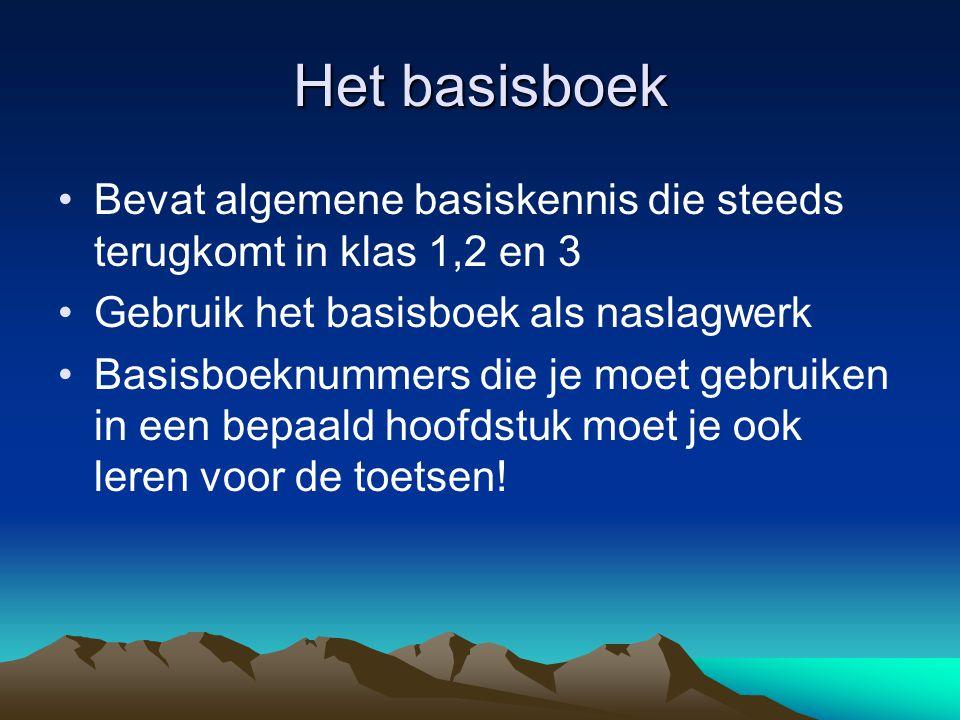Het basisboek Bevat algemene basiskennis die steeds terugkomt in klas 1,2 en 3. Gebruik het basisboek als naslagwerk.