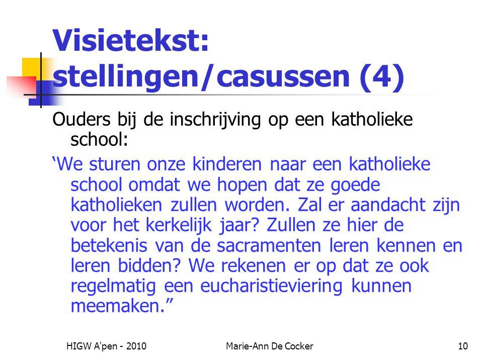 Visietekst: stellingen/casussen (4)