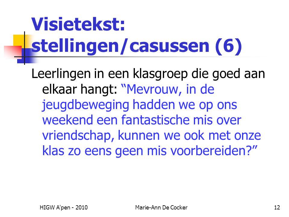 Visietekst: stellingen/casussen (6)