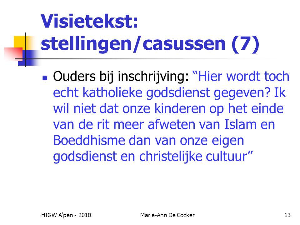 Visietekst: stellingen/casussen (7)