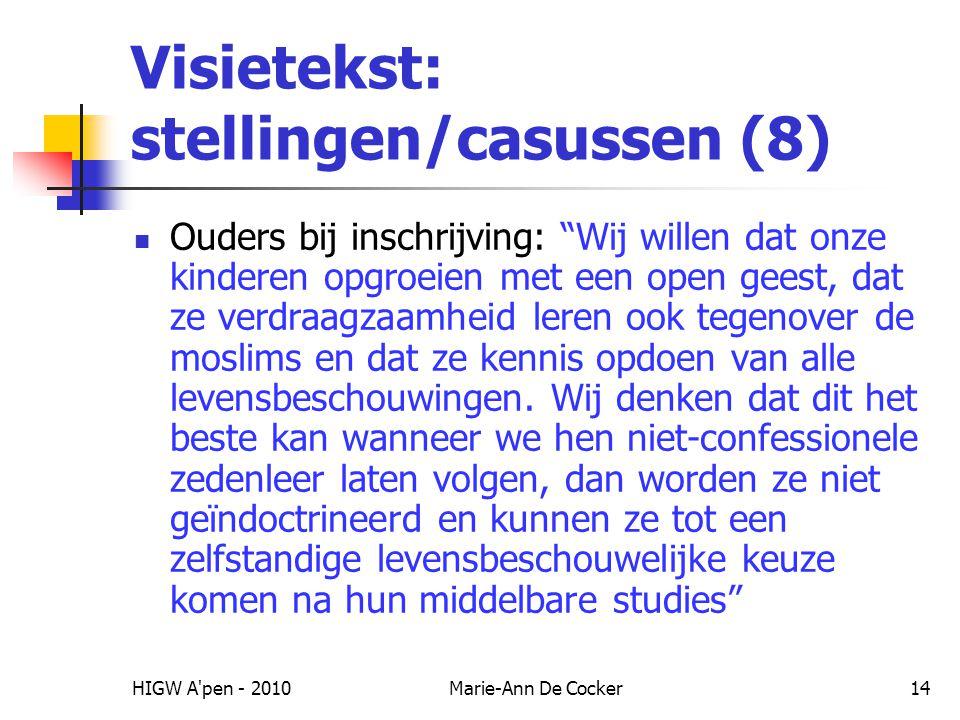 Visietekst: stellingen/casussen (8)