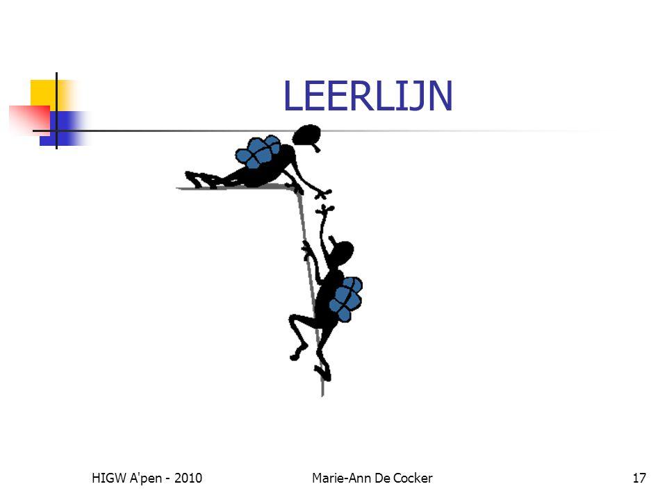 LEERLIJN HIGW A pen - 2010 Marie-Ann De Cocker