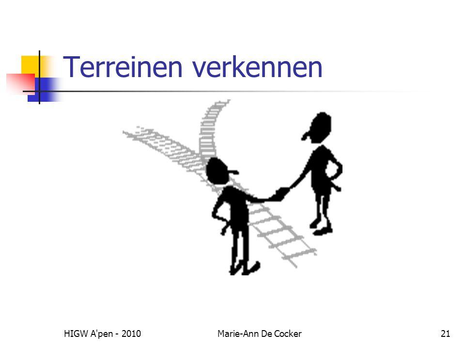 Terreinen verkennen HIGW A pen - 2010 Marie-Ann De Cocker