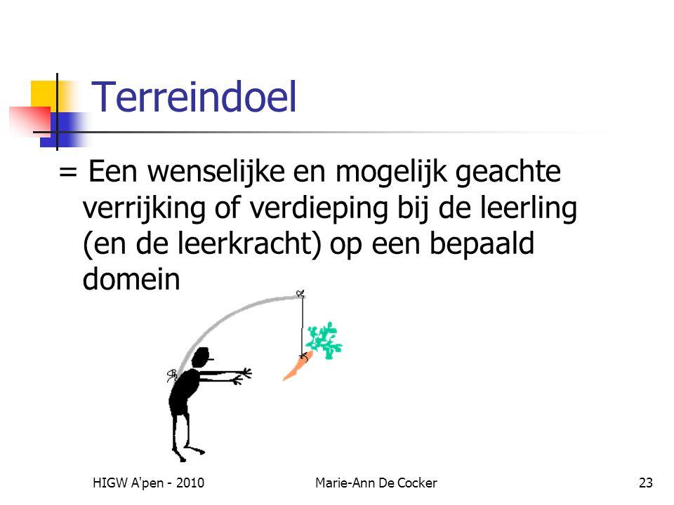 Terreindoel = Een wenselijke en mogelijk geachte verrijking of verdieping bij de leerling (en de leerkracht) op een bepaald domein.