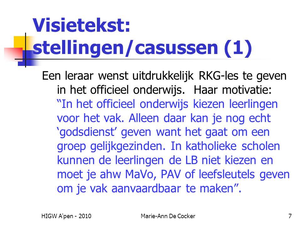Visietekst: stellingen/casussen (1)