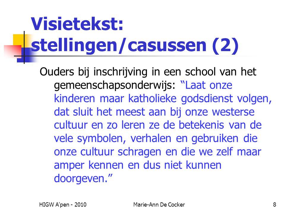 Visietekst: stellingen/casussen (2)