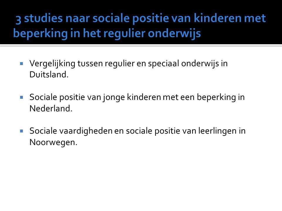 3 studies naar sociale positie van kinderen met beperking in het regulier onderwijs
