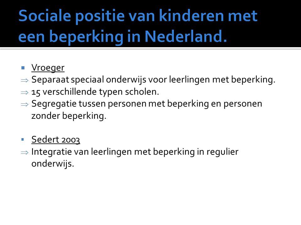 Sociale positie van kinderen met een beperking in Nederland.