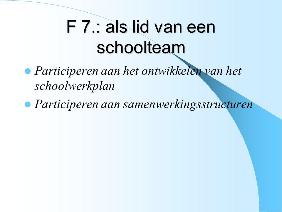 F 7.: als lid van een schoolteam