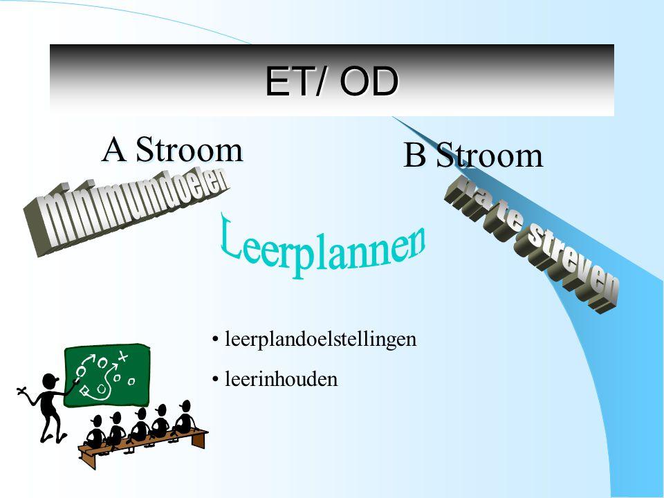 ET/ OD A Stroom B Stroom Leerplannen minimumdoelen na te streven