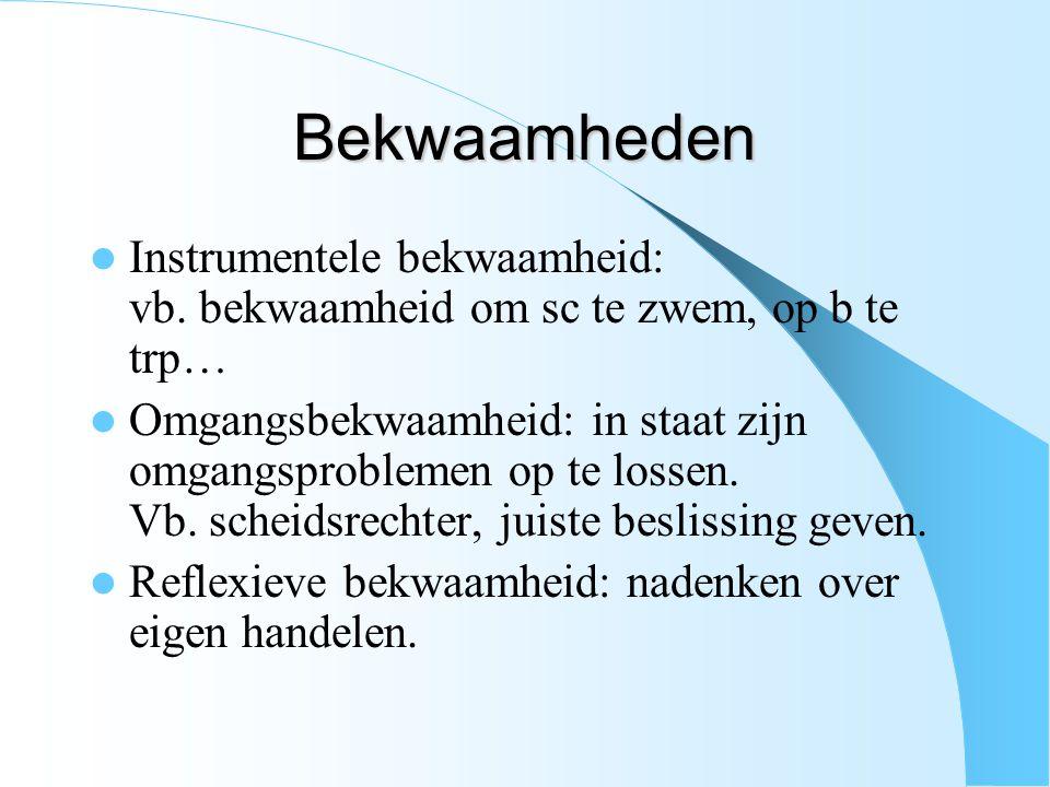 Bekwaamheden Instrumentele bekwaamheid: vb. bekwaamheid om sc te zwem, op b te trp…