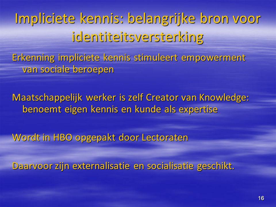 Impliciete kennis: belangrijke bron voor identiteitsversterking