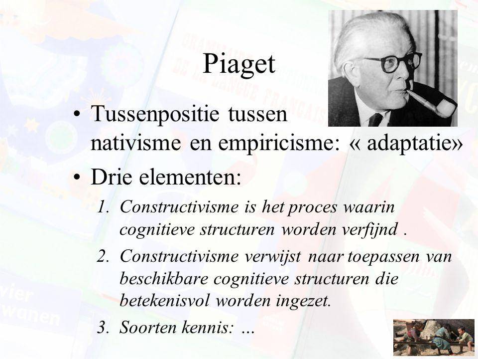 Piaget Tussenpositie tussen nativisme en empiricisme: « adaptatie»