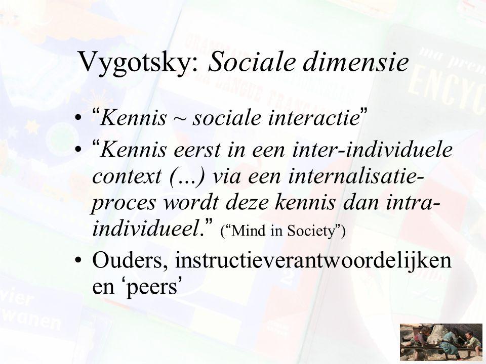 Vygotsky: Sociale dimensie