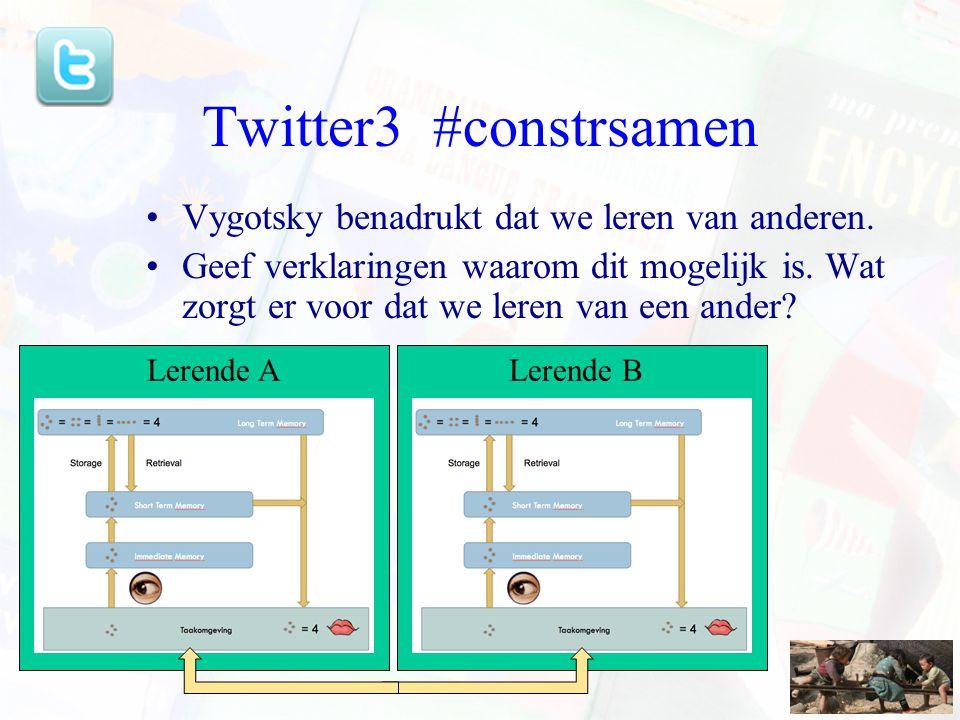 Twitter3 #constrsamen Vygotsky benadrukt dat we leren van anderen.