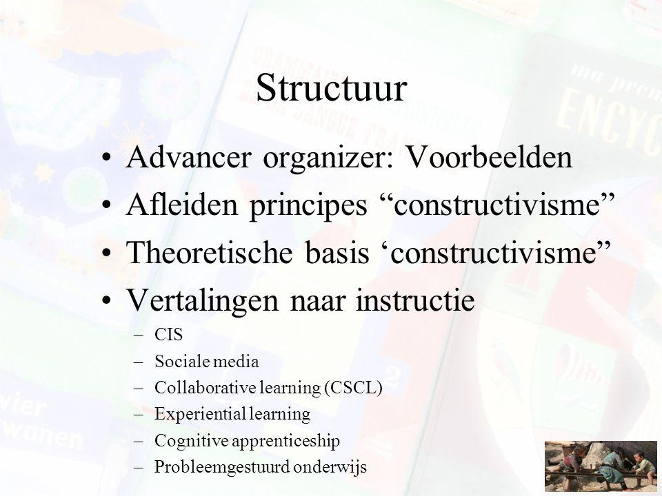 Structuur Advancer organizer: Voorbeelden