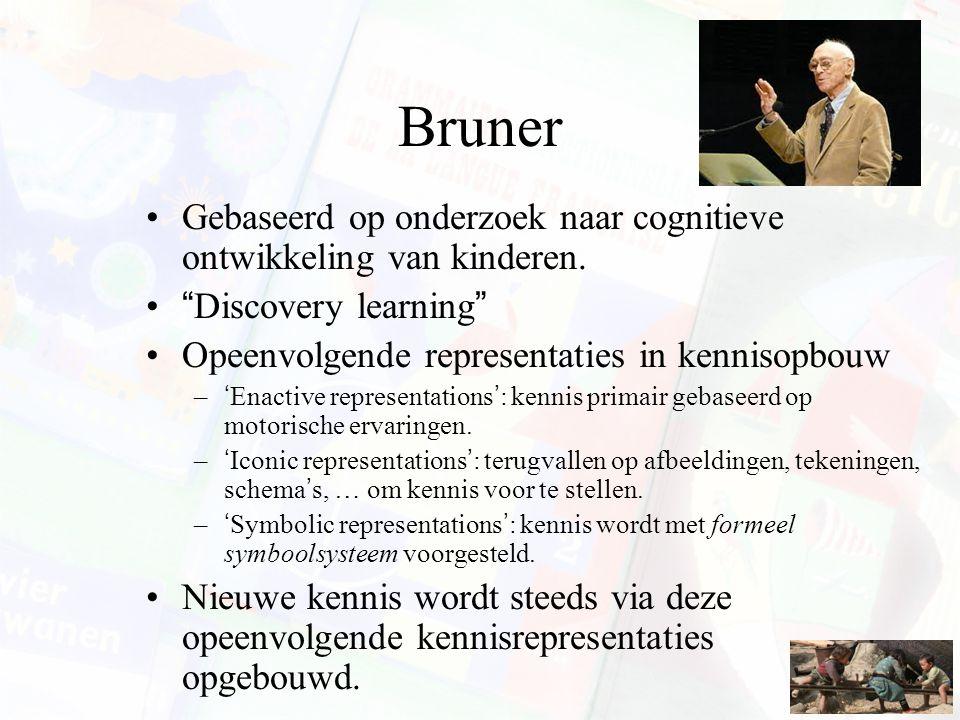 Bruner Gebaseerd op onderzoek naar cognitieve ontwikkeling van kinderen. Discovery learning Opeenvolgende representaties in kennisopbouw.