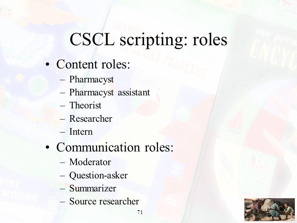 CSCL scripting: roles Content roles: Communication roles: Pharmacyst