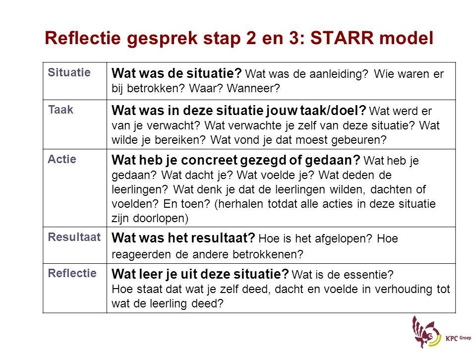 Reflectie gesprek stap 2 en 3: STARR model